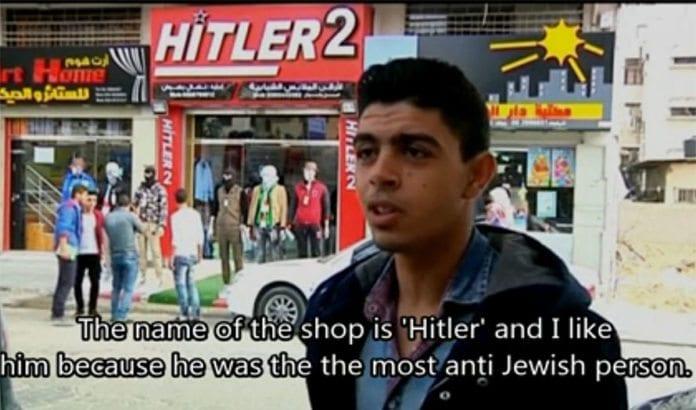 Klesbutikken Hitler 2 ligger i Gaza by. (Foto: Skjermdump fra video på jpost.com)