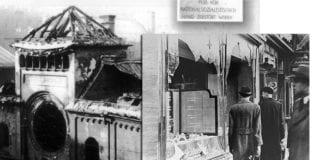 En ødelagt synagoge i München og en ødelagt jødisk butikk - i tillegg til utrolig store materielle ødeleggelser var Krystallnatten også en massakre på jøder over hele Tyskland. (Foto: Wikimedia Commons)