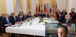 Forhandlingsbordet der verdensmaktene og Iran ble enige om en atomavtale i sommer. Innfelt: Mark Dubowitz. (Foto: Det amerikanske utenriksdepartementet og Foundation for Defense of Democracies)