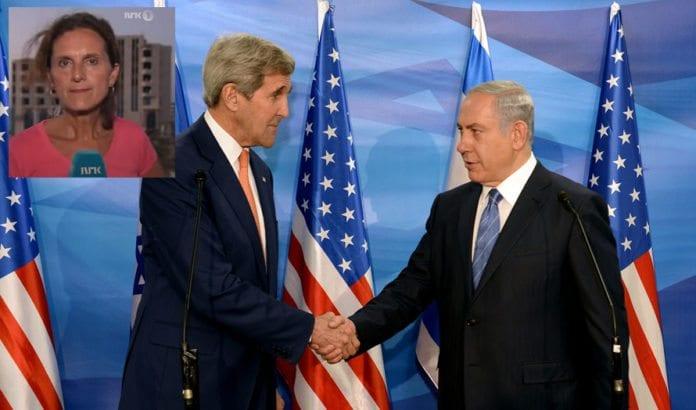 USAs utenriksminister John Kerry møtte Israels statsminister Benjamin Netanyahu i Jerusalem i november. Innfelt: NRKs reporter Sidsel Wold. (Foto: Det amerikanske forsvarsdepartementet / Flickr.com / Skjermdump fra NRK)