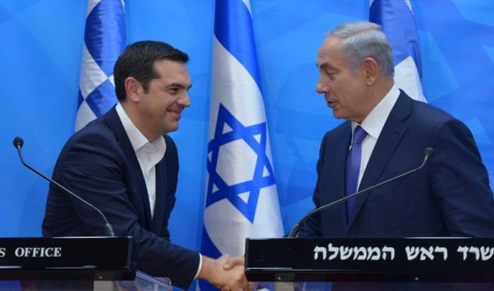 Den greske statsministeren Alexis Tsipras møtte Netanyahu da han besøkte Israel 25. november. (Foto: GPO)