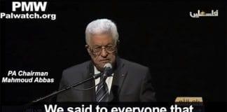 """Mahmoud Abbaas omtaler terrordrap som """"fredelig folkeopprør"""". (Foto: Skjermdump fra PMW / YouTube)"""