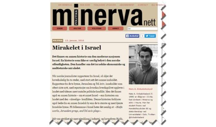 Skjermdump fra Minervanett.no 13. januar 2016.