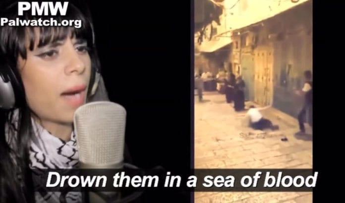 Skjermdump fra musikkvideoen som ble sendt på Awdah TV 4. januar 2016. (Via PMW)
