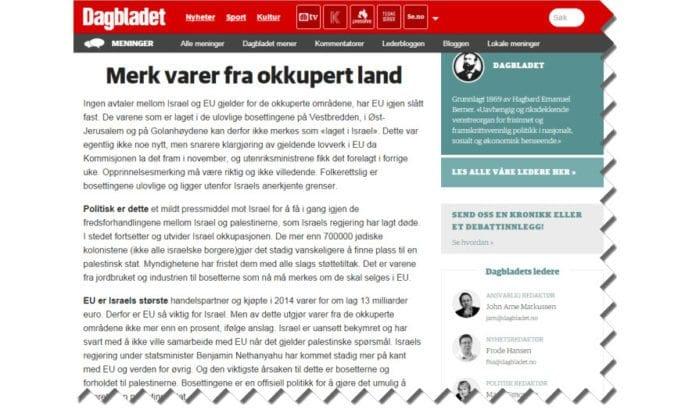 Skjermdump fra Dagbladet.no, lederartikkel fra 26. januar 2016.