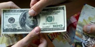 Amerikanske dollar og israelske shekel (Foto: Olivier Fitoussi/Flash90 via Times of Israel)