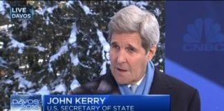 Skjermdump av John Kerry på CNBC torsdag 21. januar 2016.