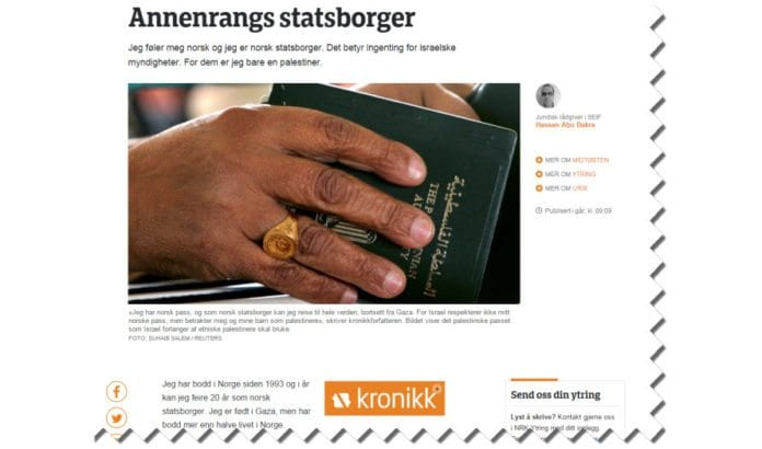 Skjermdump av artikkel publisert på NRK Ytring 18. februar 2016.