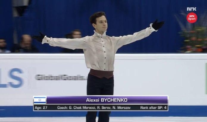Sølv-vinner Alexei Bychenko fra Israel starter sitt friløp (Foto: Skjermdump fra NRK)