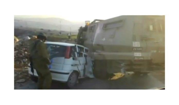 Bilen som ble forsøkt brukt til å kjøre over israelske soldater. (Foto: Skjermdump fra Channel 2 via Times of Israel)
