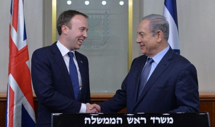 Benjamin Netanyahu og Matthew Hancock i felles pressekonferanse onsdag 17. februar. (Foto: GPO)
