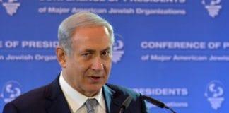 Netanyahu talte på konferanse for jødiske ledere i USA søndag 14. februar. (Foto: GPO)