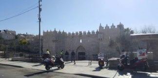Åstedet ved Damaskus-porten etter knivangrepet fredag morgen. (Foto: United Hatzolah)