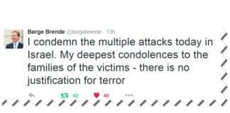 Skjermdump fra utenriksminister Børge Brendes Twitter-profil.