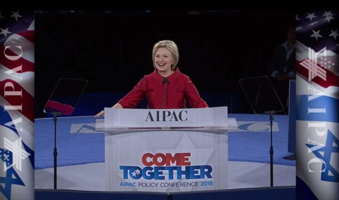 Hillary Clinton talte på AIPAC-konferansen mandag 21. mars. (Foto: Skjermdump fra AIPACs videooverføring)