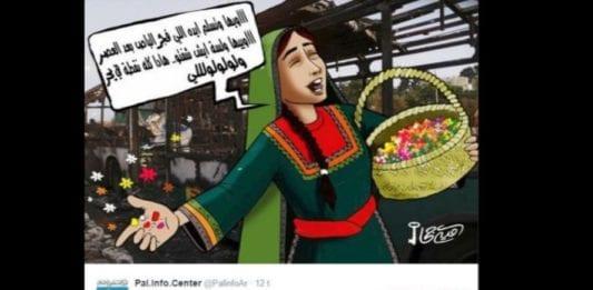 Den palestinske tegneren Omayya Juha feiret terrorangrepet ved å tegne en kvinne som synger mens hun deler ut søtsaker foran den utbrente bussen (Foto: Skjermdump fra Twitter).