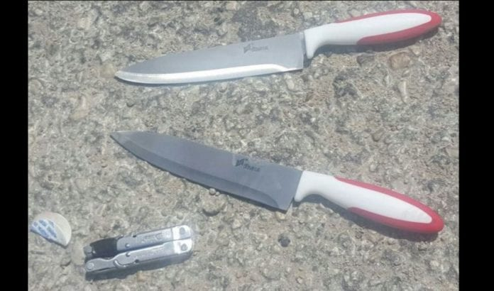 Disse knivene skulle brukes i angrepet (Foto: Israelsk politi)