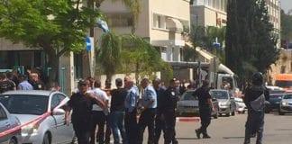 Åstedet for knivangrepet i Rosh Ha'ayin søndag 3. april. (Foto: Magen David Adom)