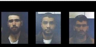 Disse tre palestinske mennene er arrestert, mistenkt for et skyteangrep mot israelere 5. februar. (Foto: Shin Bet)