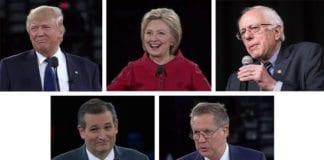 Fra venstre: De amerikanske presidentkandidatene Donald Trump, Hillary Clinton, Bernie Sanders, Ted Cruz og John Kasich. (Foto: Skjermdump fra AIPAC / YouTube ogt Phil Roeder / Flickr.com / CC)