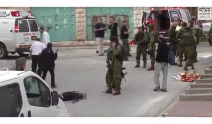 Skjermdump fra episoden i Hebron 24. mars. (Foto: B'Tselem)