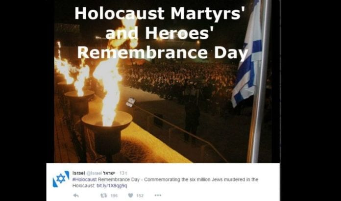Fra markeringen av minnedagen for Holocaust (Foto: Skjermdump fra Israelsk UDs Twitter-konto)