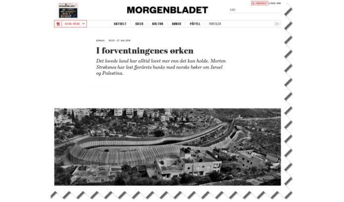Skjermdump fra Morgenbladet.no.