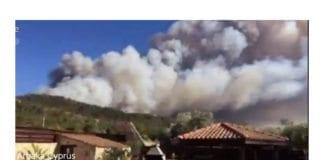 Utsikt mot skogbrannen som herjet på Kypros lørdag 18. juni 2016. (Foto: Skjermdump fra Twitter via James Archer og Times of Israel)