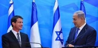 Frankrikes statsminister Manuel Valls og Israels statsminister Benjamin Netanyahu holder pressekonferanse i Jerusalem 23. mai 2016. (Foto: Kobi Godeon, GPO)