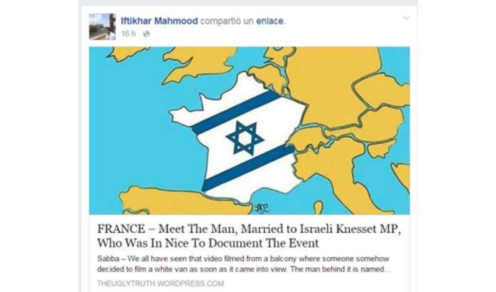 Muslimsk menighetsforstander og daværende Høyre-politiker Iftikhar Mahmood delte denne antisemittiske posten på sin Facebook-profil. Han skal ha delt poster med lignende innhold flere ganger tidligere. (Foto: Skjermdump)