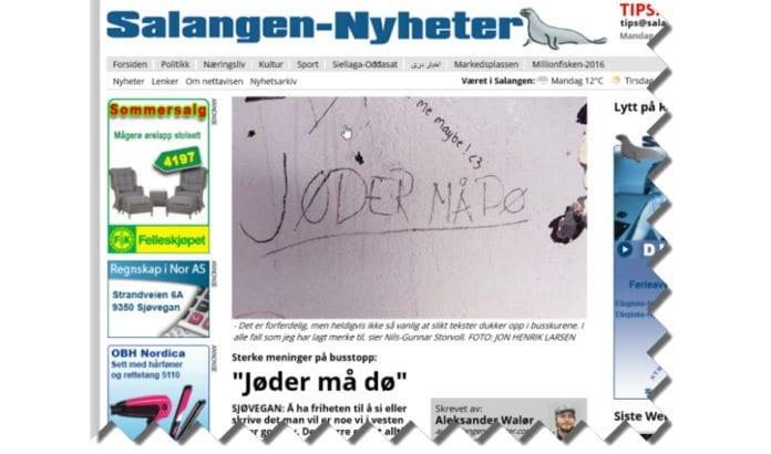 Skjermdump fra Salangen-Nyheter 1. august 2016.