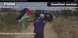 Den palestinske mannen sender sønnen mot soldatene (Foto: PMW)