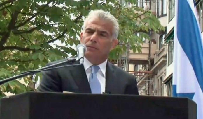 Den israelske toppolitikeren Yair Lapid talte på Israel-markering i Stockholm søndag 28. august 2016. (Foto: Skjermdump fra video på Ynetnews.com)