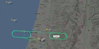 Skjermdump fra flyets radar, via Ha'aretz.