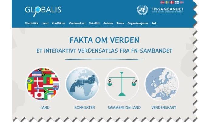 Skjermdump av forsiden til Globalis.no, en faktaside som FN-sambandet står bak.