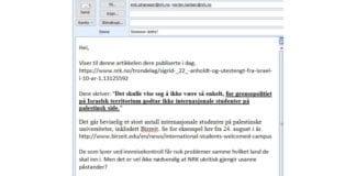 Skjermdump av e-post som MIFF sendte til NRK-journalistene 9. september 2016.