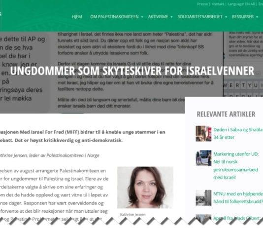 Skjermdump fra Palestinakomiteens nettside.