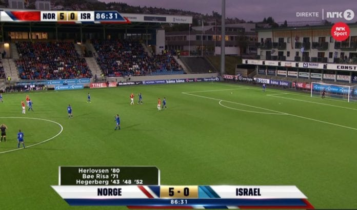 Norge vant 5-0 over Israel i kvalifiseringskampen til EM på Høddvoll mandag 19. september 2016 (Foto: Skjermdump fra NRK)