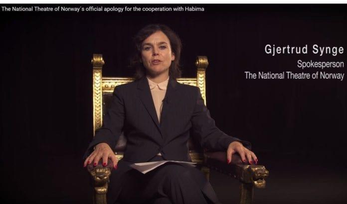 Skjermdump fra YouTube-video som feilaktig påstår å formidle et budskap fra Nationaltheatret.