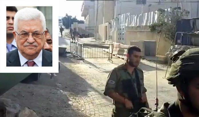 Åstedet for knivangrepet der en soldat ble knivstukket i ansiktet fredag 16. september i Hebron. Innfelt: PA-president Mahmoud Abbas. (Foto: Skjermdump fra YouTube via Times of Israel / Olivier Pacteu, Flickr.com, CC)
