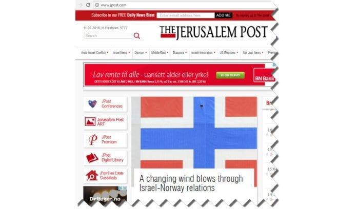 Skjermdump fra Jpost.com 7. november 2016.