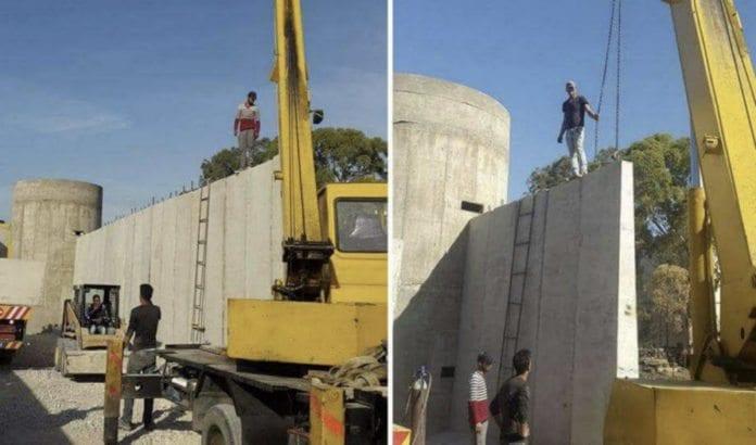 Bilder publisert i sosiale medier av muren rundt Ain al-Hilweh. (Foto via Al Araby)