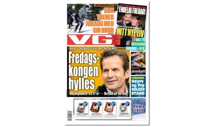 Forsiden til VG 2. desember 2016. (Illustrasjon)