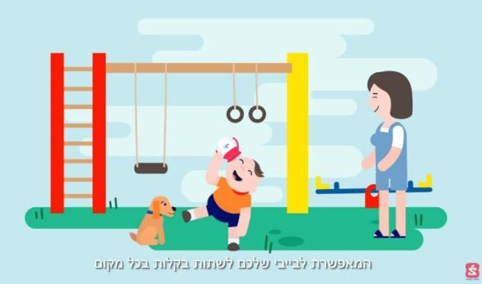 Fra den israelske reklamefilmen for den norsk-utviklede WOW-koppen.