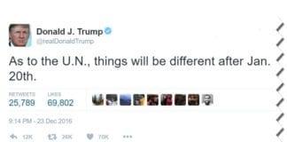 Donald Trumps Twitter-melding etter at resolusjon 2334 ble vedtatt i FNs sikkerhetsråd.