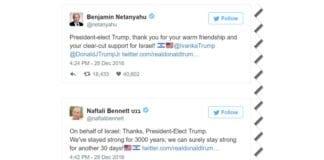 Skjermdump av Netanyahus og Bennetts Twitter-meldinger fra 28. desember 2016.
