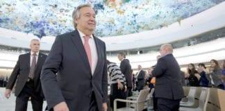 FNs generalsekretær Antonio Guterresa i et FN-møte 18. januar i år. (Foto: Jean-Marc Ferré)