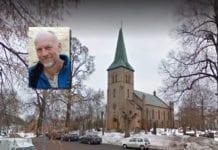 Asker kirke og sokneprest Tor Øystein Vaaland innfelt. (Foto: Google/ Asker menighet)