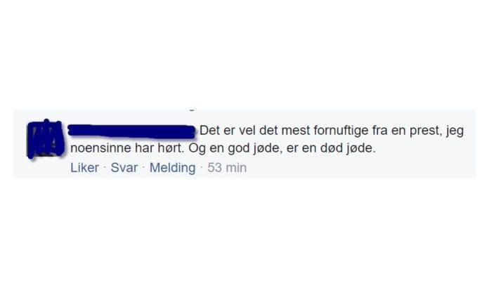 Skjermdump av kommentar på MIFFs Facebook-side 16. januar 2017. Kommentaren ble skrevet av en godt voksen norsk mann fra Finnmark.
