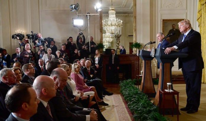 Trump og Netanyahu holdt en felles pressekonferanse etter møtet mellom dem. (Foto: Avi Ohayon/Flickr)